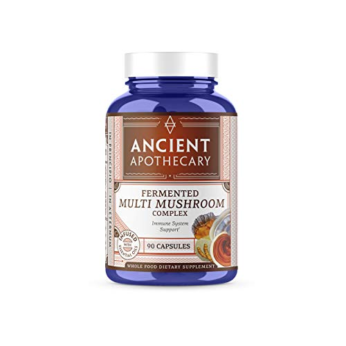 Ancient Apothecary Fermented Multi Mushroom Supplement, 90 Capsules - 7 Organic Mushrooms, Essential Oils, Ashwagandha Extract and Digestive Bitters