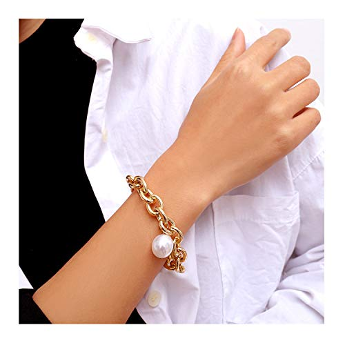 Gold Cuban Link Chain Pearl Bracelet Punk Hip-hop Costume Fashion Jewelry (Gold)