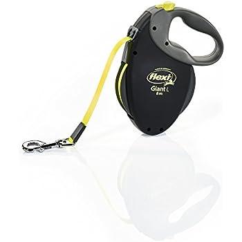 Flexi Giant L Retractable Dog Leash (Tape), Large, Black/Neon