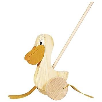Kleinkindspielzeug Schiebetier Pelikan aus  Holz Goki