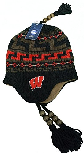 New! University of Wisconsin Badgers Beanie Winter Hat with Earflaps & Tassels