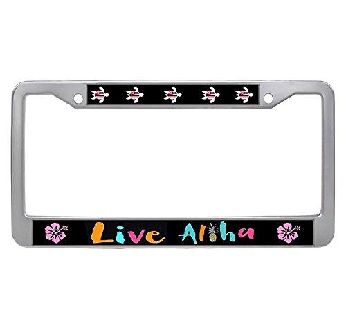 - Dasokao Live Aloha Cute Car License Plate Frame - Retro Stainless Steel Auto License Plate Frame With Bolts Caps