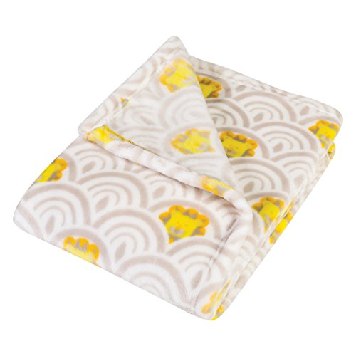 (Trend Lab Plush Baby Blanket, Gray Art Deco Lions Scallop)