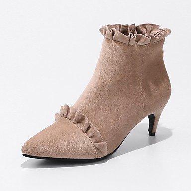 RTRY Zapatos De Mujer Cuero De Nubuck Primavera Otoño Lanilla Forro Fashion Botas Botas Kitten Heel Señaló Toe Botines/Botines De Cremallera Ruched US7.5 / EU38 / UK5.5 / CN38