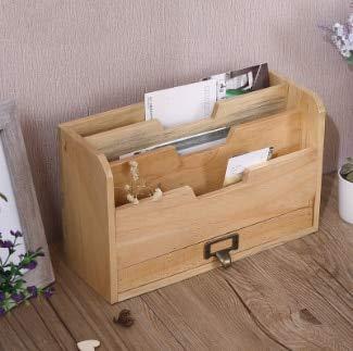 BeesClover Creative Old Wooden Desk Home Office Storage Box Desktop Filing Document Sundries Storage Box Sandal Wood One Size by BeesClover