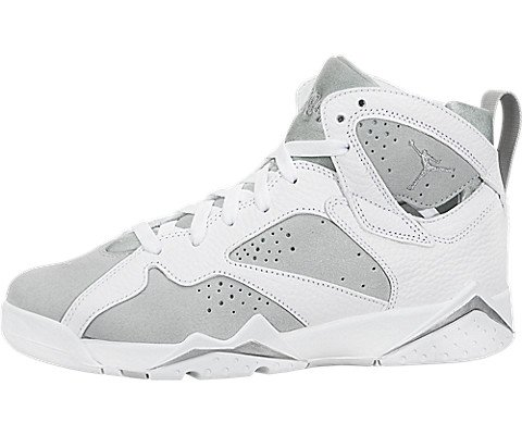 Jordan AIR 7 Retro BG Boys Sneakers 304774-034 (4.5 M US Big Kid, White|Metallic Silver-Pure Platinum)