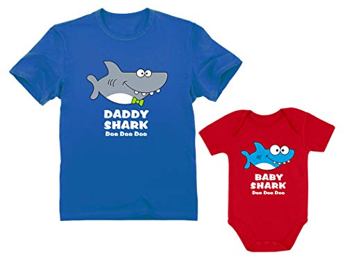 Baby Shark Bodysuit & Daddy Shark T-Shirt Doo Doo Doo Funny Set Newborn & Dad