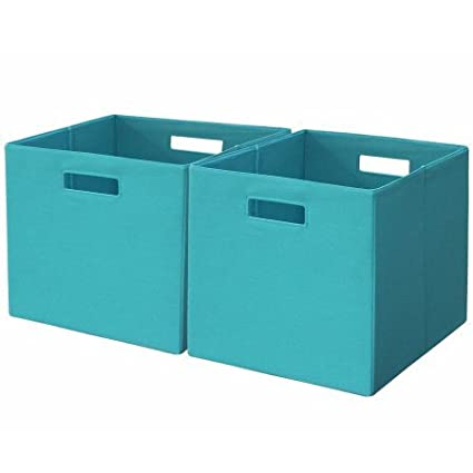 Better Homes And Gardens Open Slot Storage Bins Organizer (Set Of 2) (Teal