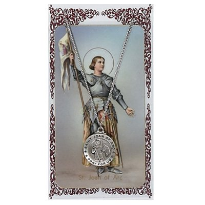 Sports Prayer Card - Saint Joan of Arc Pewter Medal Pendant with Prayer Card