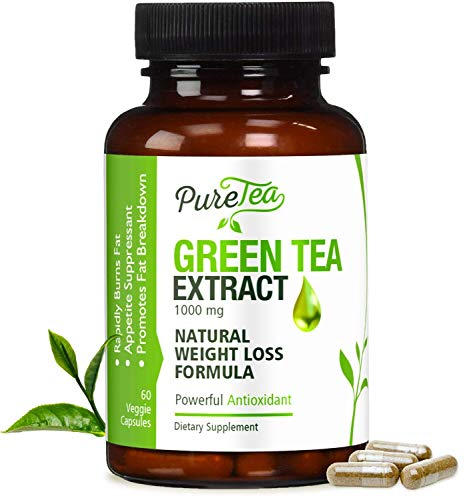 Green Tea Extract Max Potency 98% with EGCG 1000mg for Healthy Weight Loss - Boost Metabolism for Heart - Antioxidants for Immune System - Gentle Caffeine - Fat Burner Supplement Pills - 60 Capsules ()