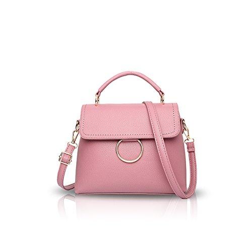NICOLE&DORIS Bolso simple del bolso del hombro de Crossbody del bolso de la manera de las mujeres Totales lindos PU suave Púrpura Rosado