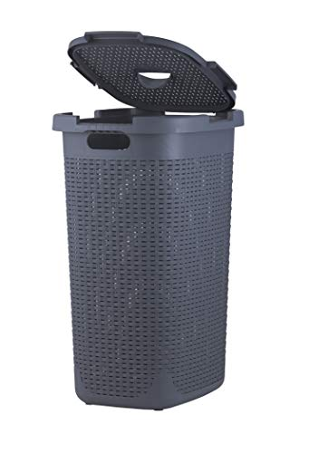 Laundry Hamper Basket With Lid 60 Liter - Deluxe Wicker Style Grey Color - 1.70 Bushel Bin With Cutout Handles To Storage Dirty Cloths in Washroom Bathroom, Or Bedroom. By Superio (Tall Plastic Laundry Hamper)
