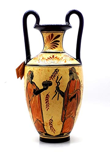 Amphora Vase Greek Ceramic Pottery Painting Goddess Hera & God Zeus