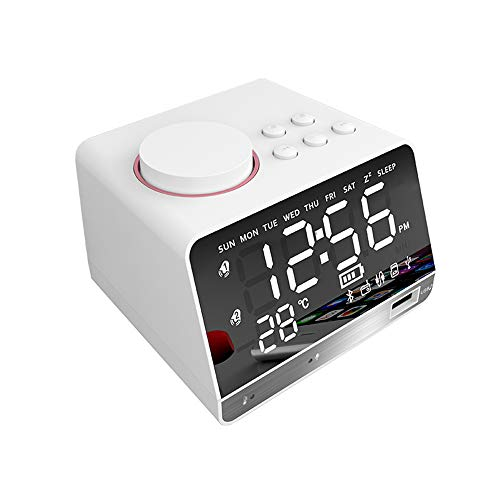 Household appliances Mirror LED Digital Radio Alarm Clock, Bedside Table Clock Bluetooth Speaker Alarm Clock, Home Bedroom Radio Intelligent Electronic Clock - 103 Bluetooth