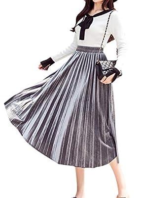 Women's Long A-line Retro Skirts Elastic Waistband Pleated Flowy Long Maxi Skirts