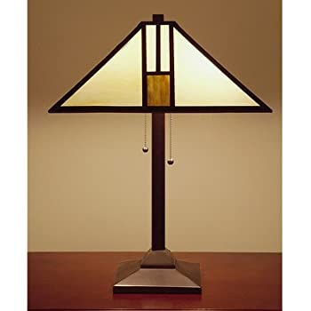 Elegant Tiffany Style White Mission Style Table Lamp, 25 Inch