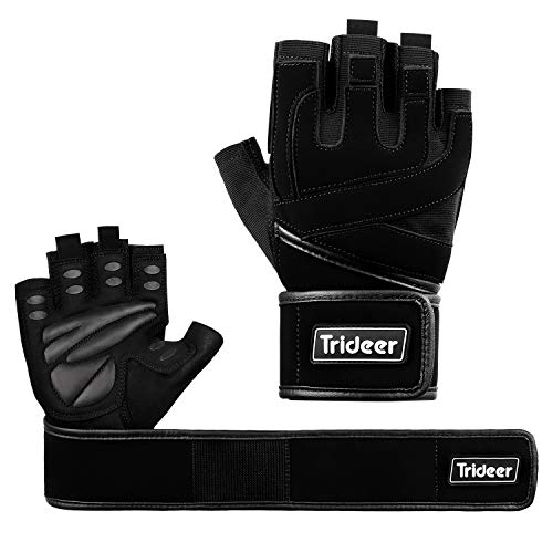 Trideer Padded Anti-Slip Weight Lifting Gloves with 18