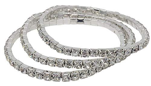 SIMPLICHIC Rhinestone Stretch Bracelet Gold-Tone Silver-Tone (Silver (1-Line) - Triple Pack)