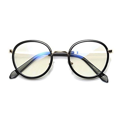verres verres bleus force Inlefen optiques Black Rétro les métal Aucune en contre rond cadre de x704p