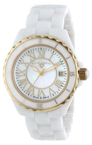 "Swiss Legend Women's 20050-WWGR ""Karamica Collection"" White Ceramic Bracelet Watch"