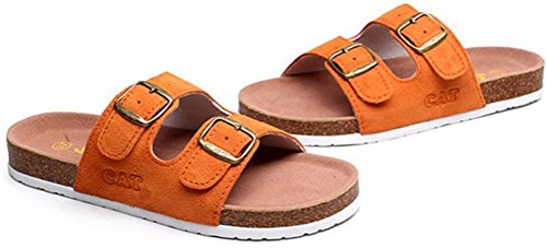 Pantofole Da Donna In Pelle Piatte Morbide Pantofole Appassionate Sandali Sportivi Arancione