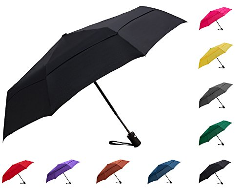 Fidus Compact Windproof Vented Automatic Travel Umbrella With Double Canopy - Large Lightweight Folding Car Golf Umbrella for Women Men (Manual Open Compact Umbrella)