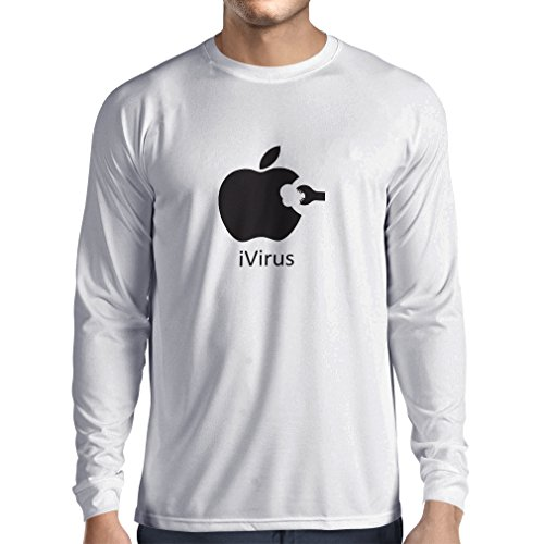 lepni.me Long Sleeve t Shirt Men iVirus - Best Funny Cool Gadget Fan Gifts (Small White Black)