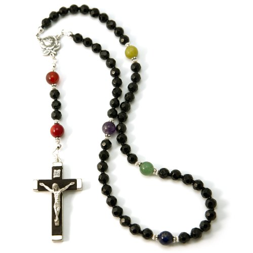 Silver Inches Prayer Beads Gay Love Gemstone Catholic Rosary with Wood Metal Crucifix -