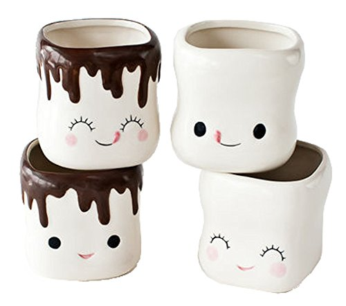 Cute Marshmallow Shaped Hot Chocolate Mugs-Ceramic-Set of 4 ()