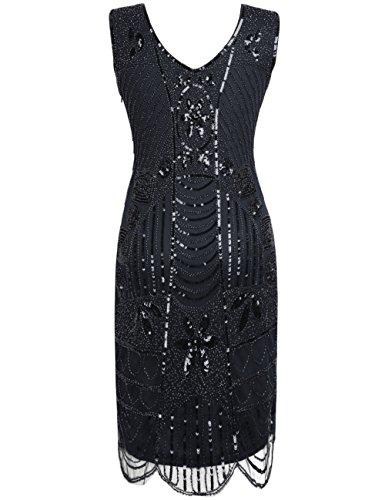 Donne Deco Vestito Delle Cocktail Di Prettyguide Gatsby 1920 Perline Art Le Con Puro Nero Frange Paillettes 07Hx0Uqr