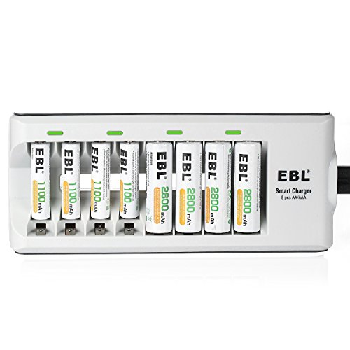 EBL 8 Bay AA/AAA Battery Charger with 4 AA 2800mAh Rechargeable Batteries & 4 AAA 1100mAh Rechargeable Batteries