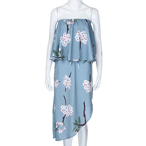 Anyren Women's Blue Ruffle Off Shoulder Maternity Slash Neck Dress Sleeveless Ruched Sides Knee Length Bodycon Loose Dress (Blue, ()
