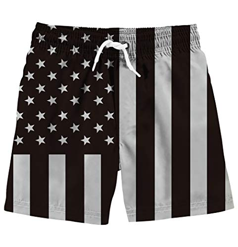 (Freshhoodies Toddler Boys Swim Trunks Black American USA Flag Elastic Drawstring Beach Board Shorts Classic Quick Dry Swim Shorts Independence Day Bathing Suit 4-5t)