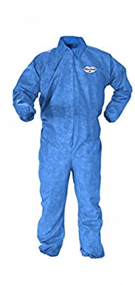 Kimberly-Clark KleenGuard A60 Bloodborne Pathogen and Chemical Splash Protection Coverall, Elastic Wrist, Disposable (Case of 20)