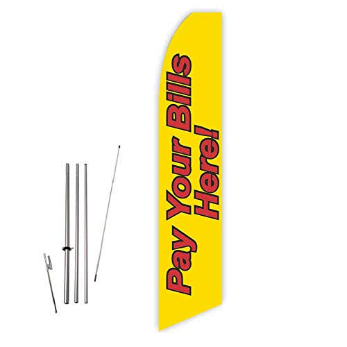 Pay Your Bills Here (Yellow) Super Novo Feather Flag - Complete with 15ft Pole Set and Ground Spike