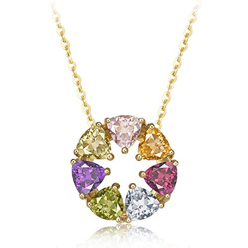 - FANCIME 14K Solid Yellow Gold 2.1cttw Multicolored Pink Tourmaline/Peridot/Garnet/Citrine/Topaz/Amethyst Round Open Circle Pendant Necklace For Women Girls, 16