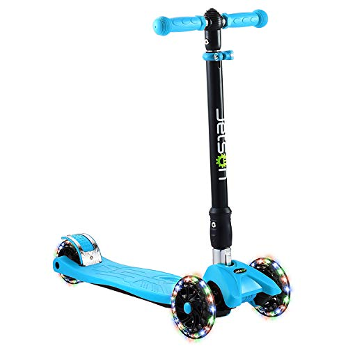 (Jetson Twin Folding 3-Wheel Kick Scooter with Light-Up Wheels, Lean-to-Steer Design and Height Adjustable Handlebar, for Kids 5 and Up -)