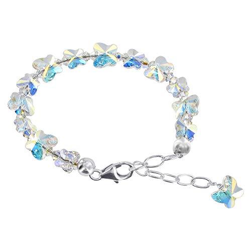 Gem Avenue 925 Sterling Silver Butterfly Shape Swarovski Elements Clear AB Crystal 5.5 to 7 Inch Adjustable Bracelet for Women