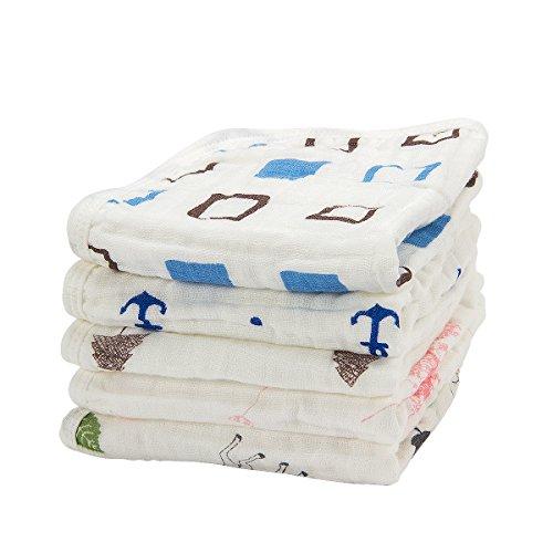 Madholly 5 Pieces Baby Muslin Washcloths Set, 11.8