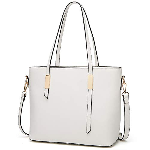 White Leather Handbag Purse - YNIQUE Satchel Purses and Handbags for Women Shoulder Tote Bags