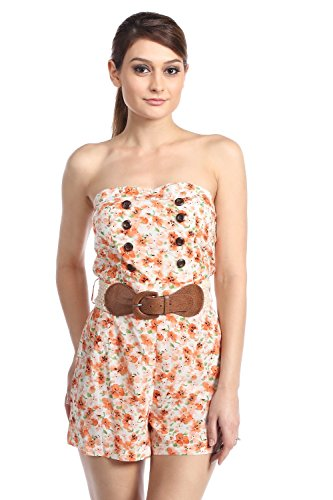 Floral Belted Button Romper (Small, Coral)