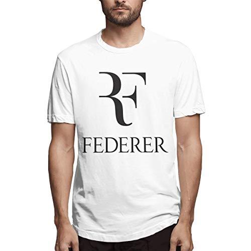(LANBRELLA Men's Roger Federer Classic Crew-Neck Short Sleeve Tee Shirt for Mens White)