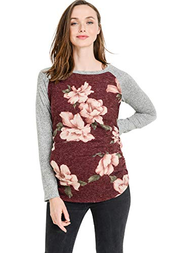 Hello MIZ Women's Maternity T-Shirt Top with Raglan Sleeve (Sweater Floral/Red,L) ()