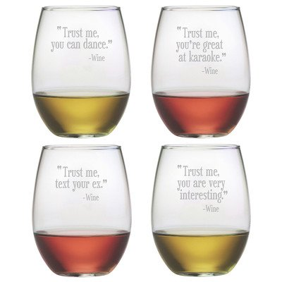Trust Me Stemless Wine Glass (Set of 4) -