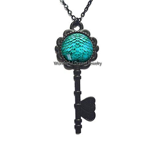 Turquoise Dragon Egg Key Pendant, Dragon Key Necklace, Dragon Egg Key Necklace, Jewelry, Charm Gift for her Key Pendant for Women,PU071