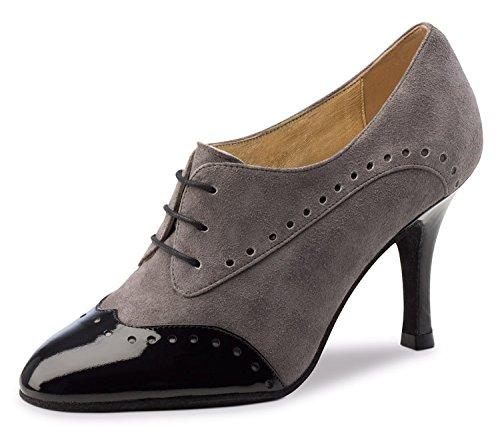 Nueva Epoca-Vernis TANGO/Salsa Chaussures de danse Noelia-Suède Femme Gris/noir-8cm