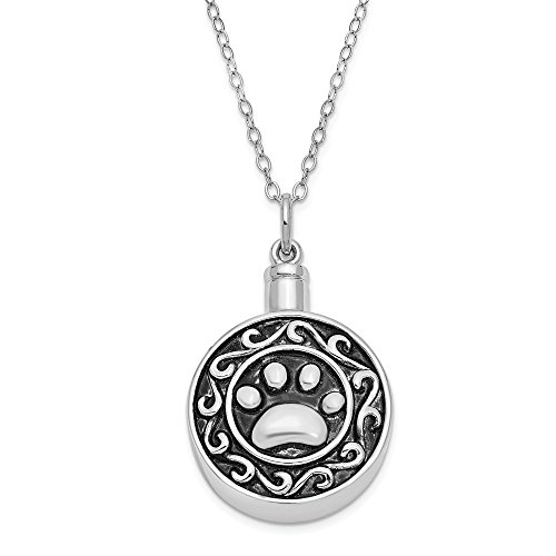 (925 Sterling Silver Paw Ash Holder 18 Inch Chain Necklace Pendant Charm Animals/insect Inspirational Fine Jewelry Gifts For Women For Her)