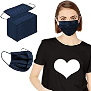 Disposable Face Mask, 100Pcs Safety Mouth-Covering, Navy Blue Breathable Face Protection for Adults Masks,Non-