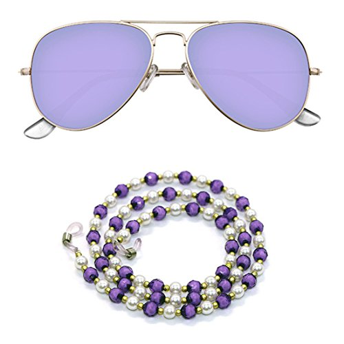 Kalevel Eyeglass Chain Beaded Glasses Eyeglass Chains and Cords for Women (Purple)