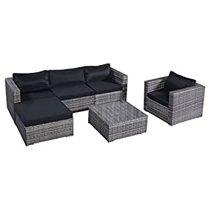 Tangkula 6 Pcs Outdoor Wicker Furniture Set Sofas Ottoman with Cushions Gradient Gray